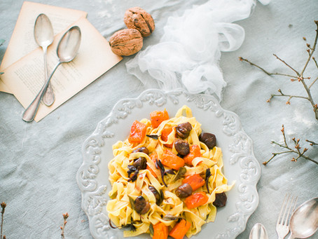 Tagliatelle with pumpkin & chestnuts in beurre noisette