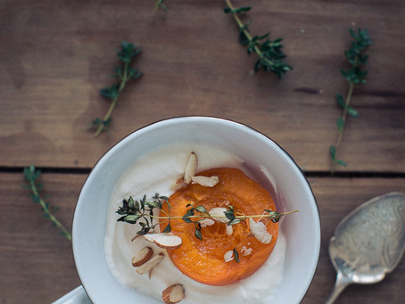 Roasted peaches & apricots with ricotta