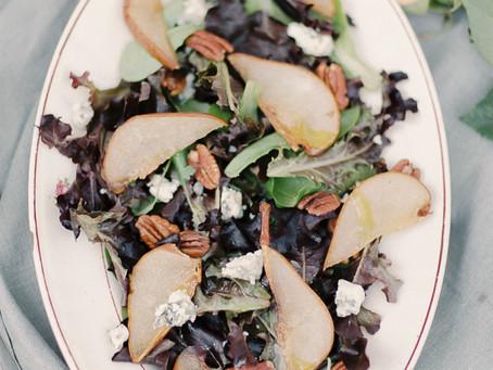 Roasted balsamic pear & blue cheese warm salad
