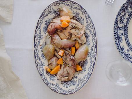 Rosemary roasted rabbit with shallots