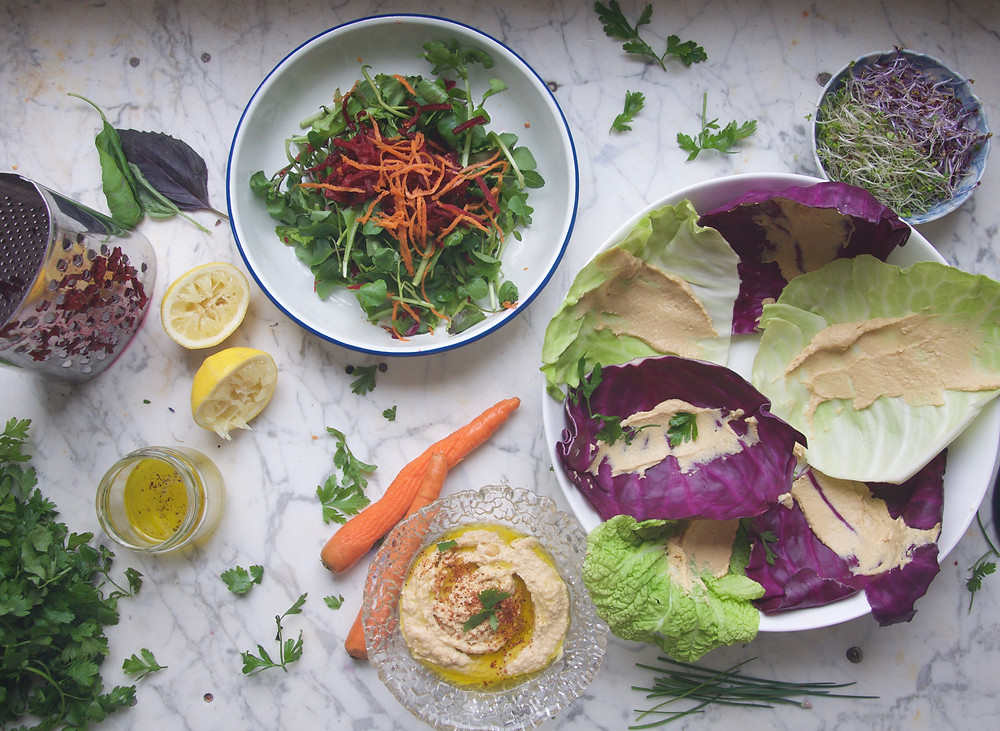 Cabbage Wraps and hummus