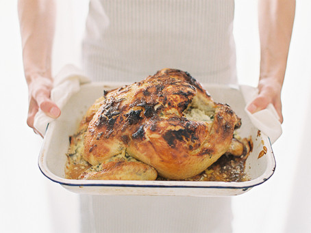 Roasted chicken with crème fraîche & herbs