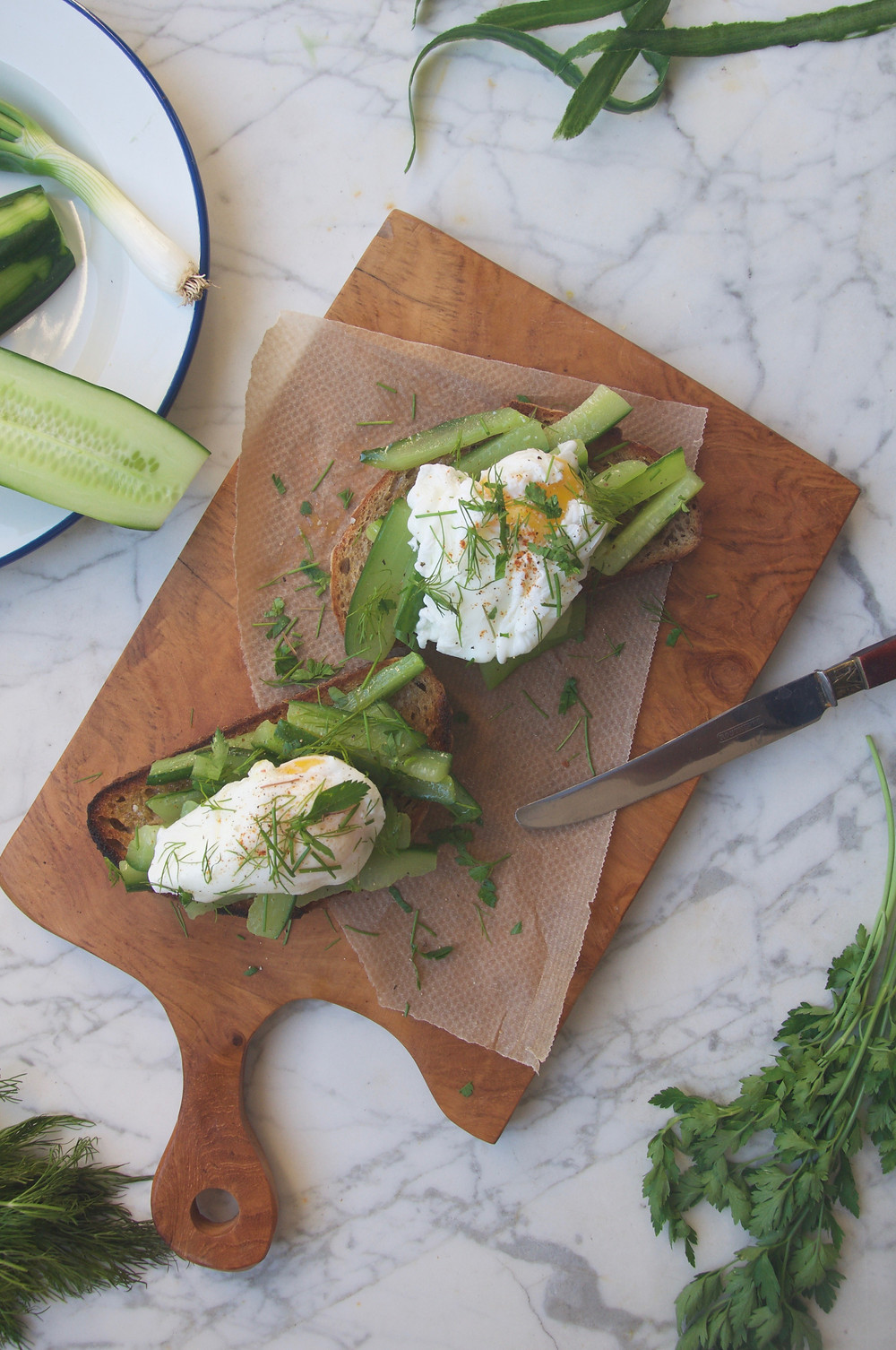 Baked Cucumber & Dill Tartine