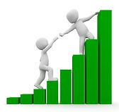 people climbing green bar graph teamwork