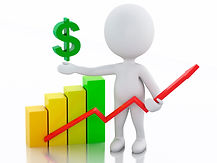 man holding line graph and dollar sign with bar graph
