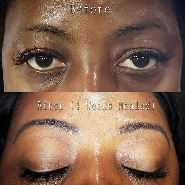 Beautiful permanent powder brows for a b