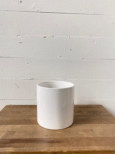 """4"""" Glossy White Ceramic Cylinder"""