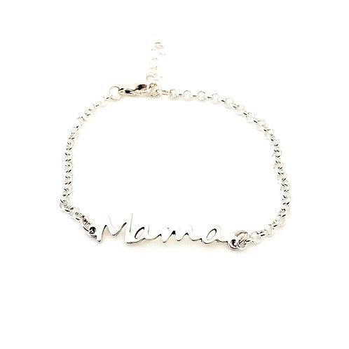 Verzilverd armbanden met tekst 'mama'