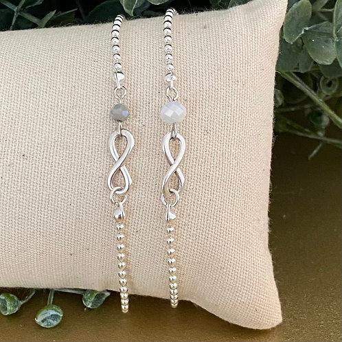 Armband isarco, zilver met wit, grijs