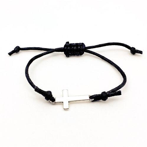 Unisex armand van zwart waskoord met verzilverd kruis en schuifknoop