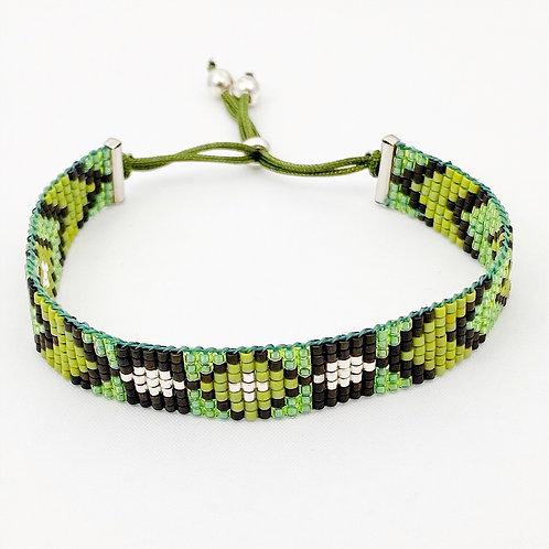 Miyuki armbandje met schuifsluiting - zwart/groen/zilver