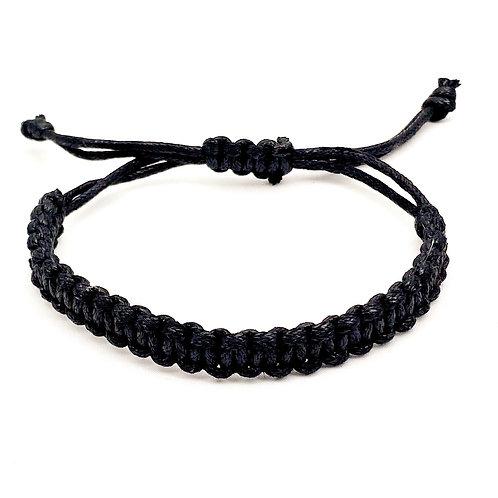 Zwarte macramé armband van waskoord