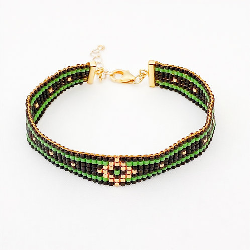Miyuki kralenarmband - groen/zwart/goud