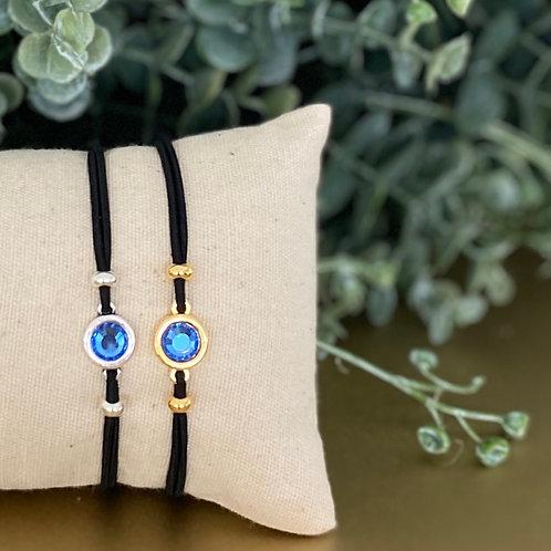 Armbandjes van zwart elastiek met kristal in swarovski stijl