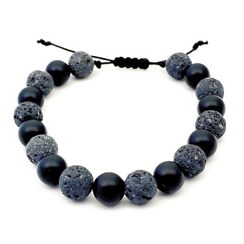 Stoere armband gemaakt van Lavastenenen  Onyx kralen met schuifknoop