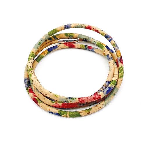 Wikkelarmband van kurkleer in bloemetjesprint