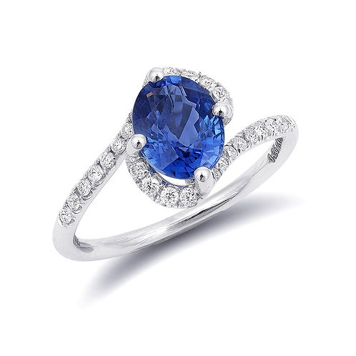14k White Gold 1.95ct TGW Natural Blue Sapphire and White Diamond Ring