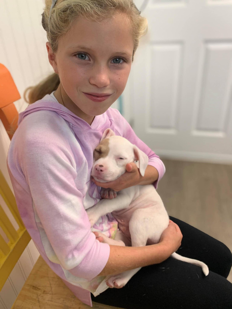 Little girl adopting a puppy at Hope for Life Center
