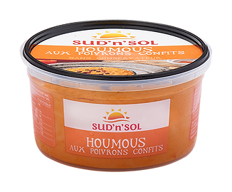 Houmous with slow rostead peppers
