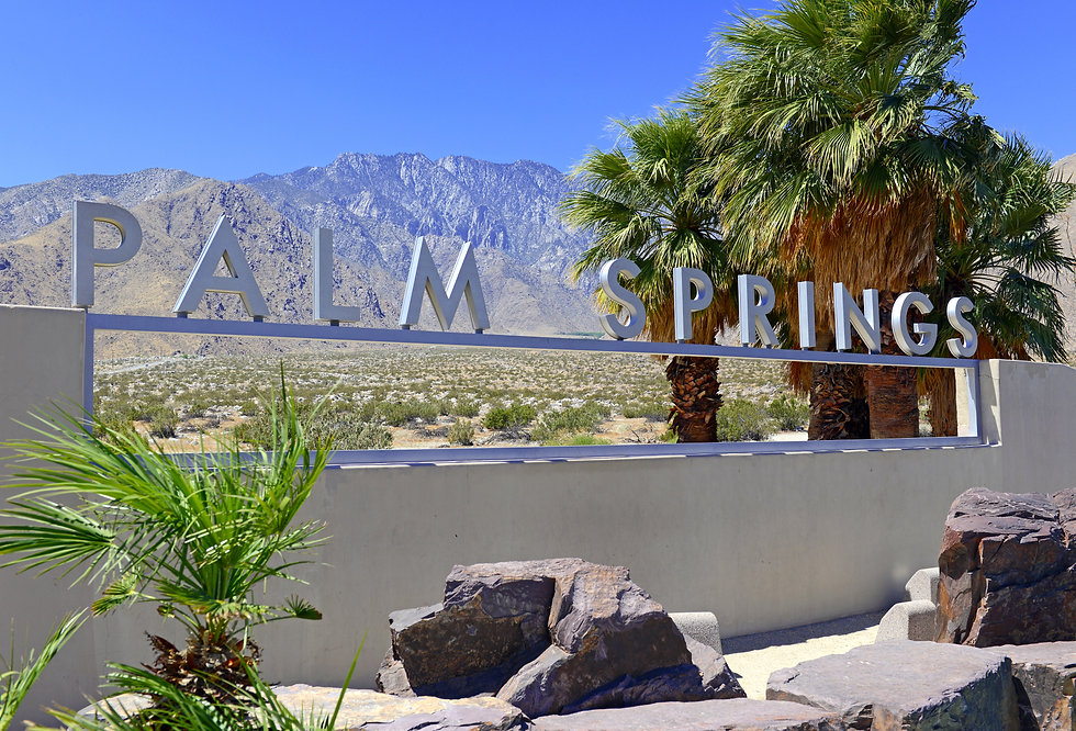 Palm Springs sign with desert background