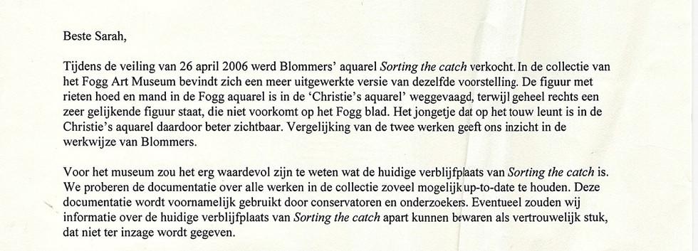 Blommers Brief Fogg Art Museum