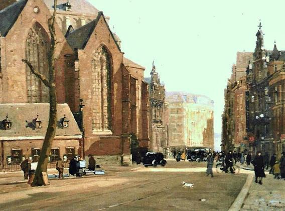 Detail 'Gezicht op de grote kerk in Den Haag'