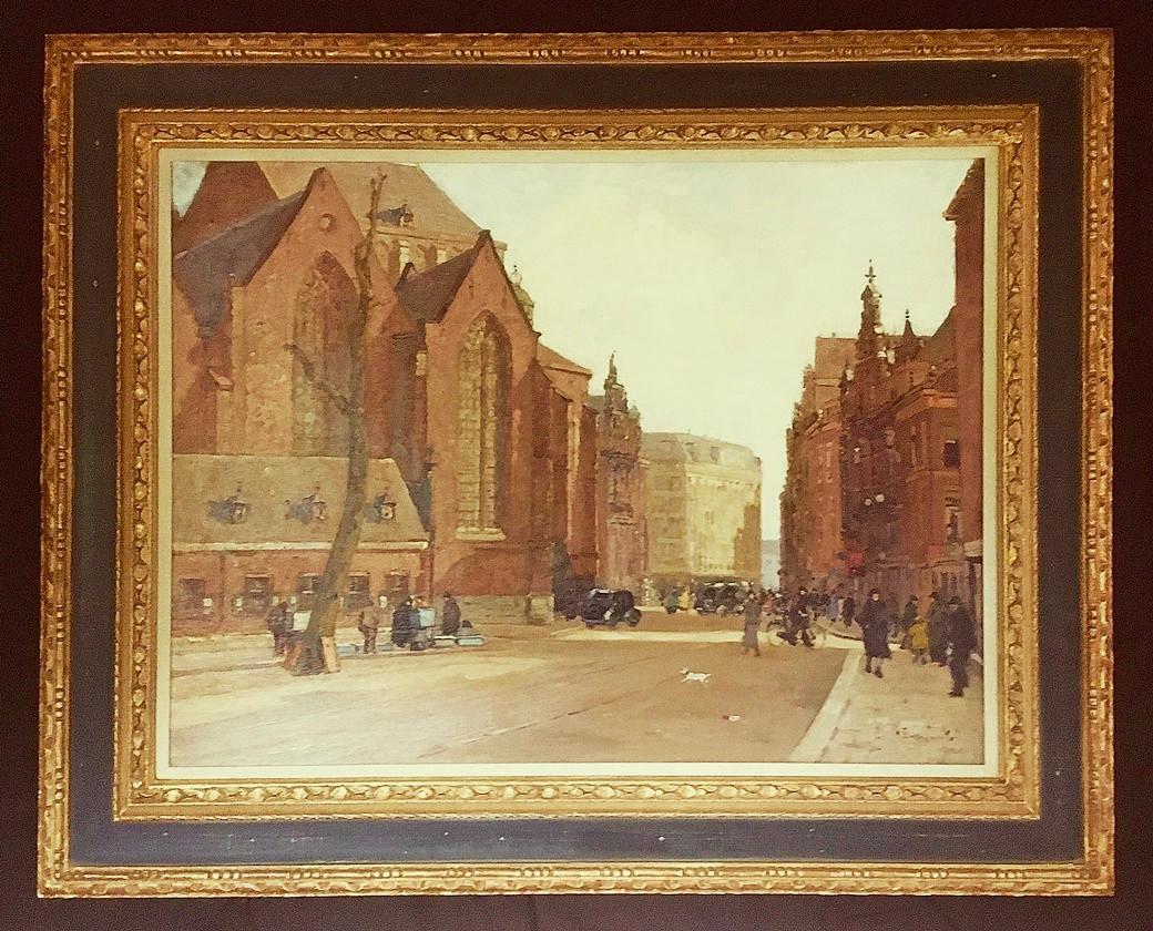 """""""Gezicht op de grote kerk in Den Haag'"""