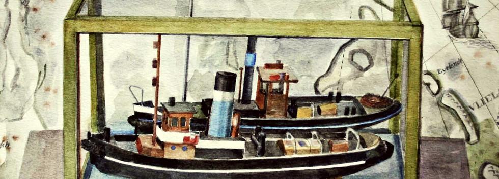 Detail 'Twee scheepsmodellen'