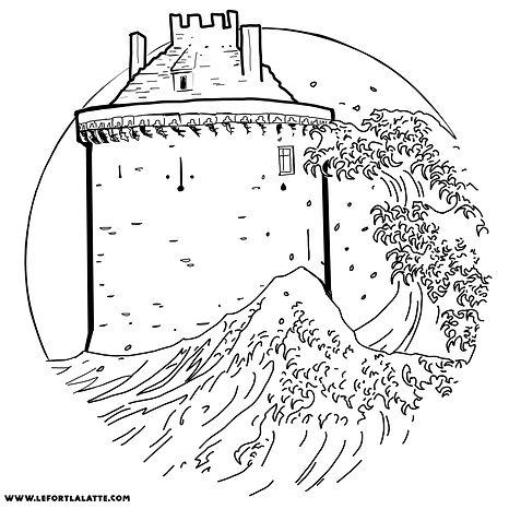 dessin du logo Le Donjon avec sa vague La Roche Goyon Fort La Latte