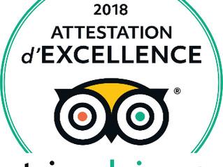 """ATTESTATION d'EXCELLENCE 2018 pour Le Domaine de La Roche Goyon """"fort La Latte"""""""