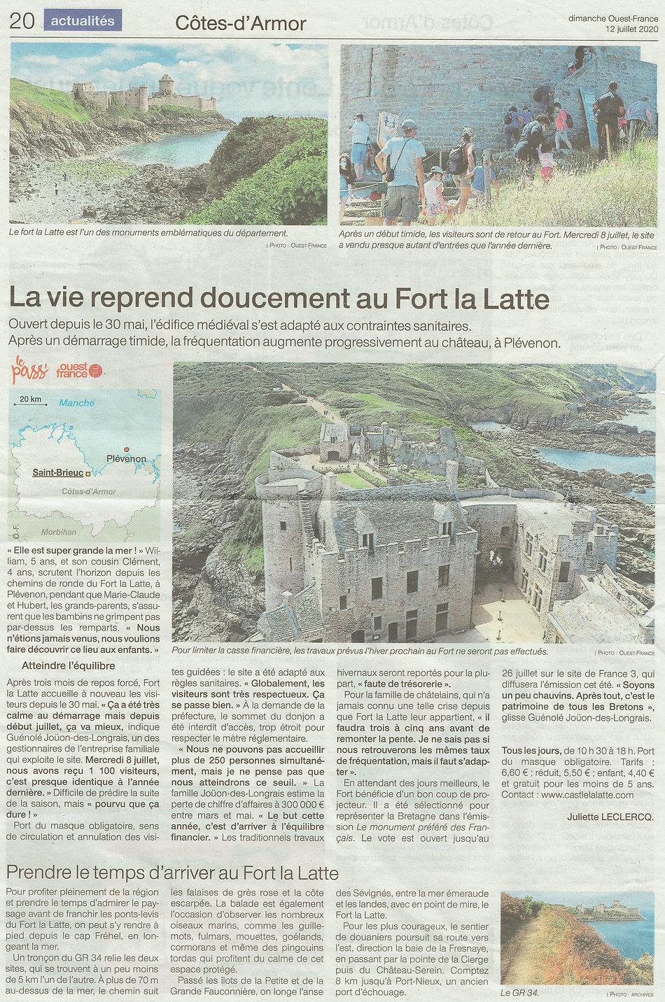 article de presse 2021 La vie reprend château de la roche goyon Fort La Latte.jpg