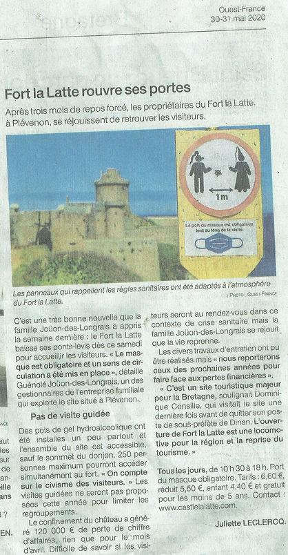 article de presse 2020 -  Château de la Roche Goyon Fort La Latte rouvre ses portes