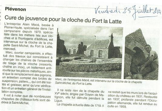 article de presse 2021 chapelle cloche château de la roche goyon Fort La Latte.jpeg