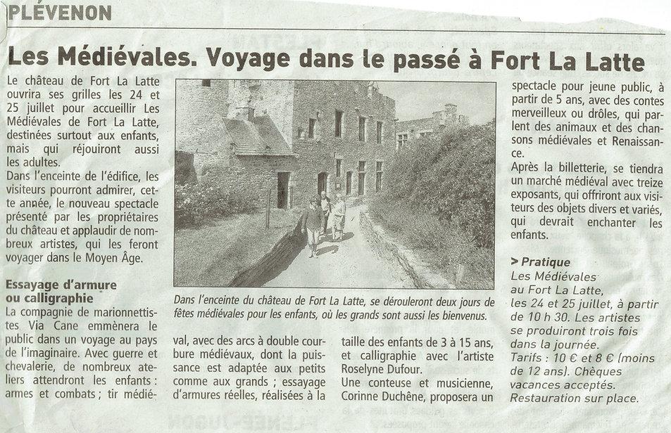 article de presse 2021 médiévales chateau de la Roche Goyon Fort La Latte voyage dans le passé