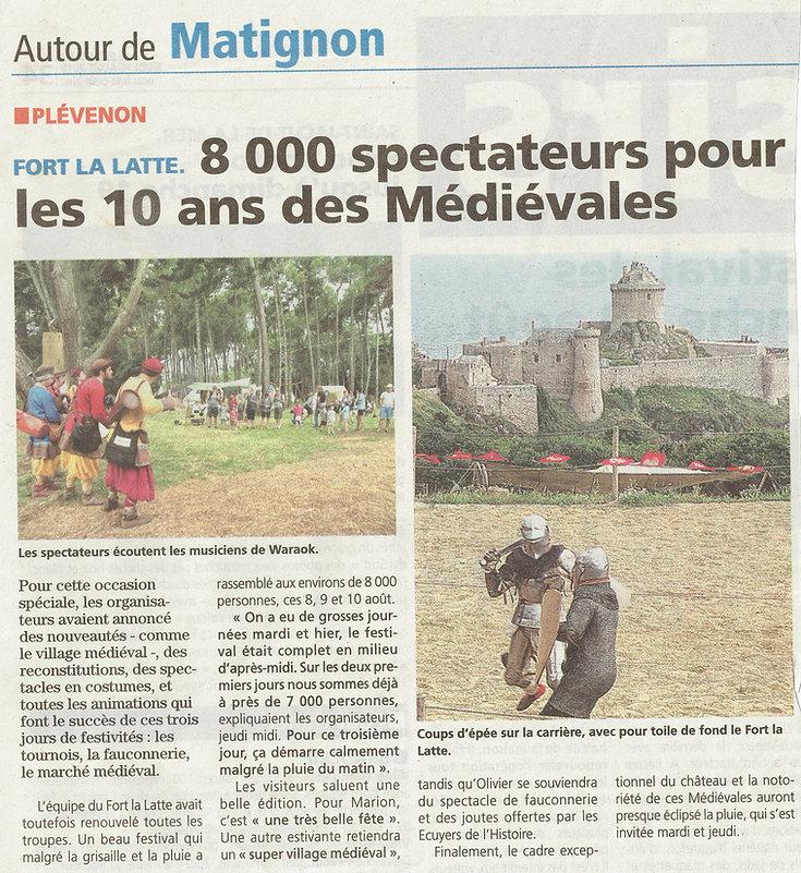 article de presse 2021 Les 10 ans des médiévales du château de la roche goyon Fort La Latte 1.jpg