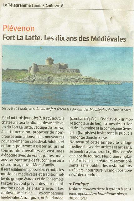 article de presse Médiévales les 10 ans chateau de la roche Goyon Fort La Latte