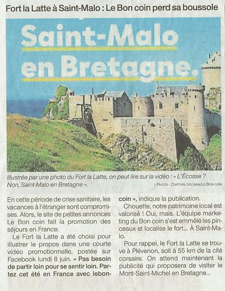 article de presse 2020 Château de la Roche Goyon Fort La Latte Le Bon Coin .jpeg