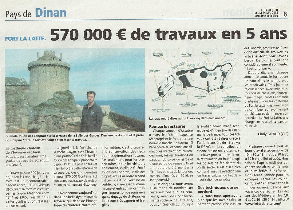 article de presse 570 000€ de travaux en 5 ans fort la latte chateau de la roche goyon