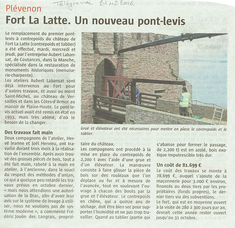 article de presse 2021 nouveau pont levis chateau de la roche goyon fort la latte