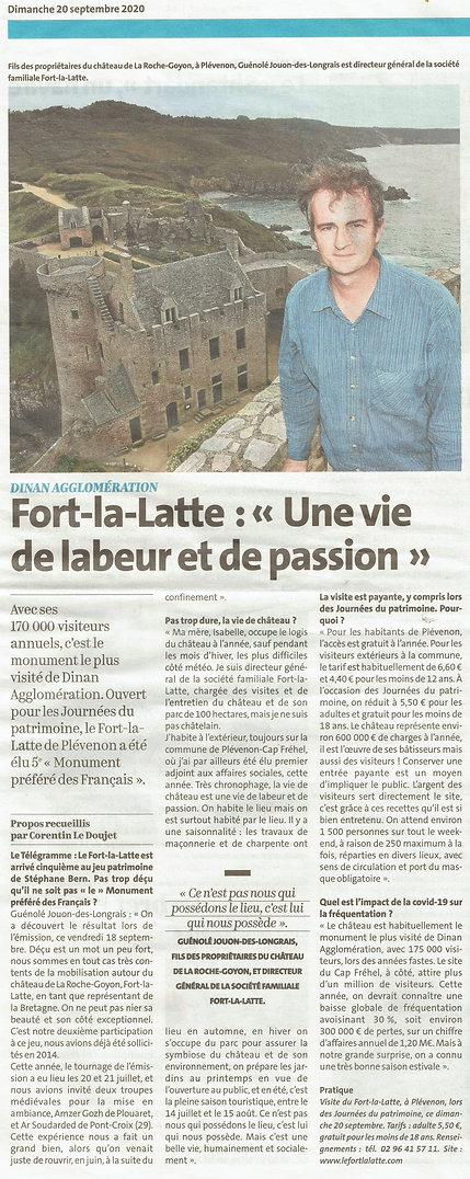 article de presse 2021 -  fort la latte chateau de la Roche Goyon Guénolé Jouon des longrais
