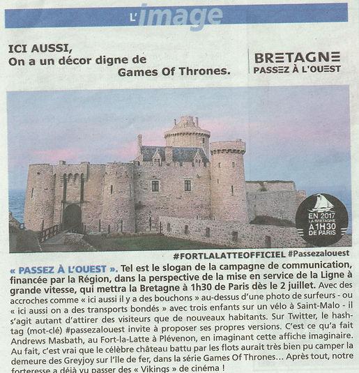 article de presse game of thrones chateau de la roche Goyon Fort La Latte