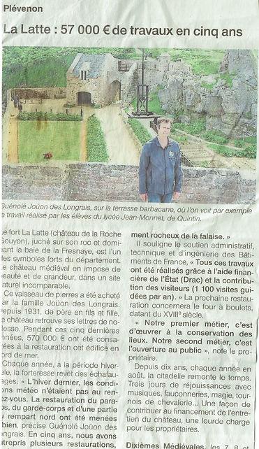 article de presse 570 000€ de travaux au chateau de la roche Goyon fort la latte