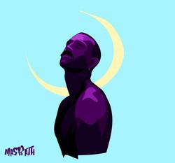 l'homme sous la lune de croissant blue-0