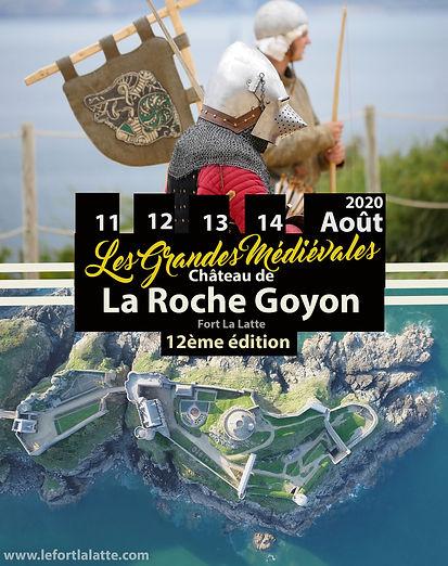 affiche des Grandes médiévales château de La Roche Goyon / Fort La Latte le 11, 12, 13 et 14 Août 2020
