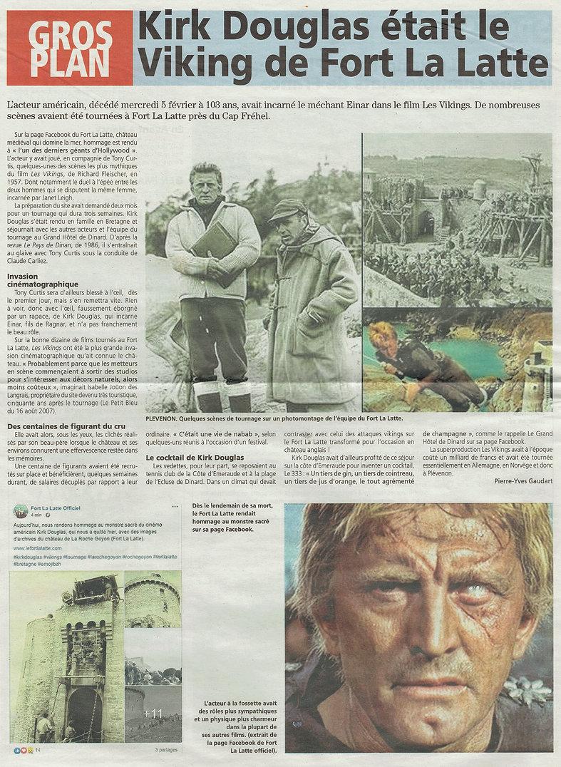 article de presse 2021 -  kirk douglas le viking au chateau de la roche goyon fort la latt
