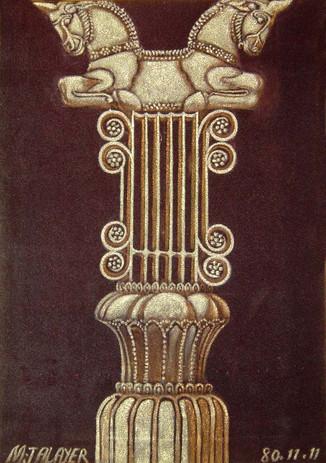 Column with bulls head