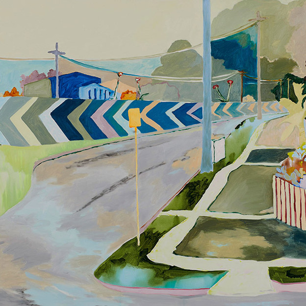 Memorial Drive 2018, acrylic and watersoluble oil on polycotton 73x98cm