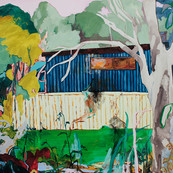 Russell Vale (through the park, over the bridge) 2019, acrylic and watersoluble oil on polycotton 102x122cm