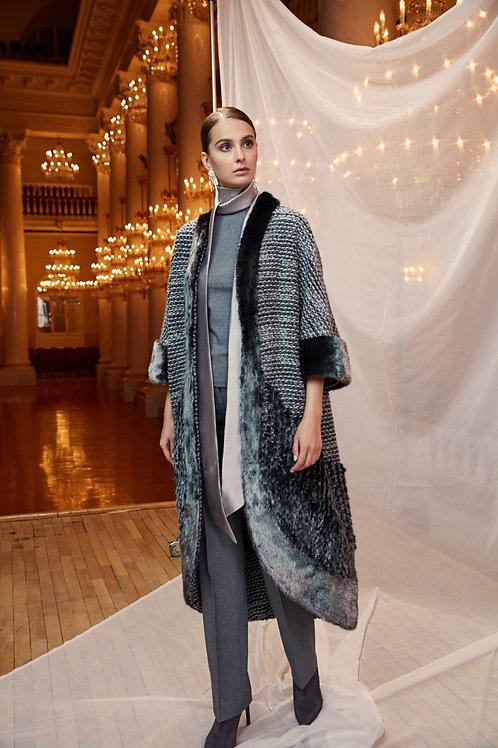 Пальто с металлизированной норкой и трикотажем