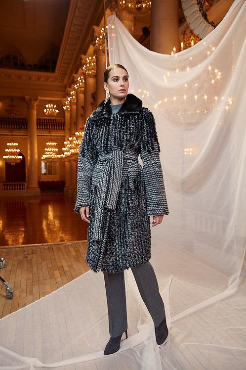 Пальто из металлизированной норки и трикотажа